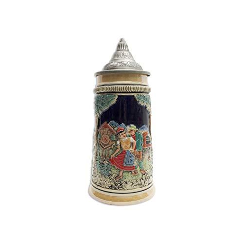 (German Black Forest Clock & Waterwheel Ceramic Beer Stein with Ornate Metal Lid)