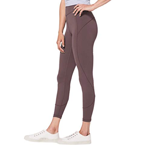 Makeupstory Womens Capri Leggings, Short Sleeve Workout Shirts for Women,Women's High Waist Solid Yoga Pants Workout Running Sports Leggings Pants Coffee by Makeupstory (Image #2)