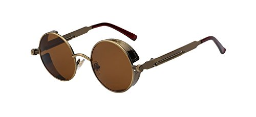 Round Metal Sunglasses Steampunk Men Women Fashion Glasses Brand Designer Retro Vintage Sunglasses UV400, Anti Brass Frame Brown - Ban Outdoorsman Leather Ray