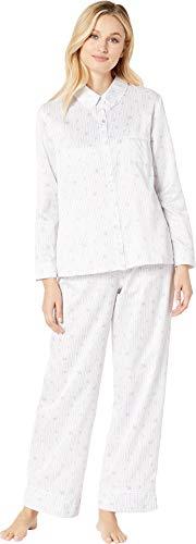 Carole Hochman Women's Brushed Back Satin Pajama Set, Stripe Ditsy Floral -