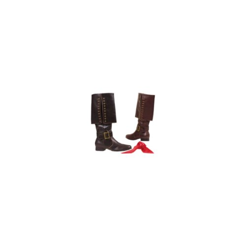 1 Inch Heel Pirate Boot With Red Sash Men's Sizes (Black PU;Small)