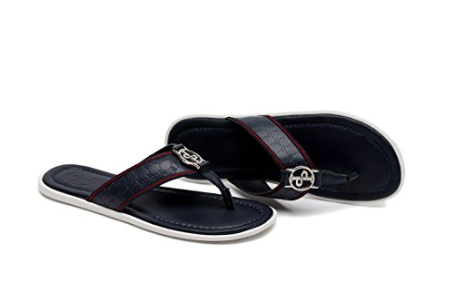 OPP Designer Mens Premium Embossed Leather Thong Sandals Original Dressy Comfort Slip On Flip Flops tN05nBRF