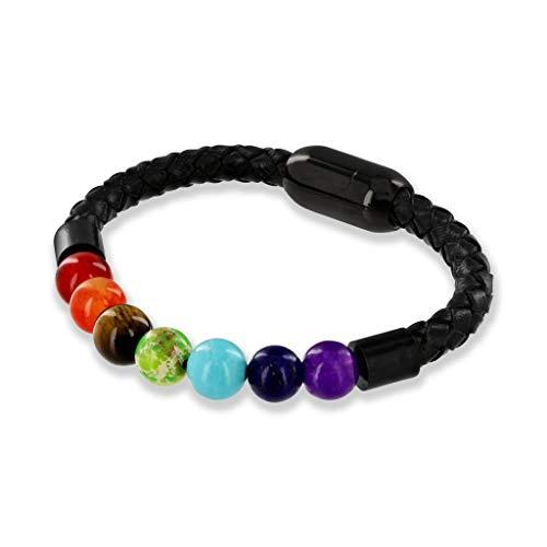 Believe London Gemstone Bracelet Chakra Bracelet Anxiety Crystal 7 Chakra Natural Stone Healing Men Women Stress Relief Reiki Yoga Diffuser Semi Precious (Chakra Magnetic Clasp ()