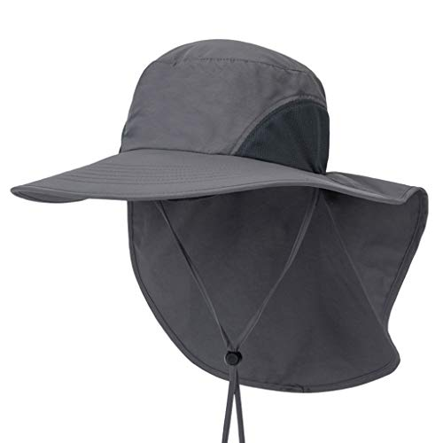 Botrong Outdoor Fishing Hat with Neck Flap Cover Wide Brim Sun Protection Cap for Men Women Hunting, Hiking, Camping, Boating Dark Gray