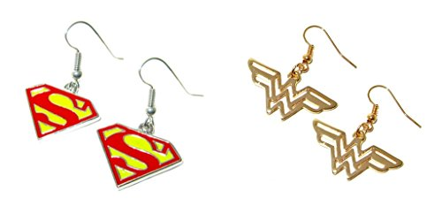 DC+Comics Products : DC Comics Superman and Wonder Woman Logos (2-Pair Assortment) Cute Girl Dangle Earrings By Athena