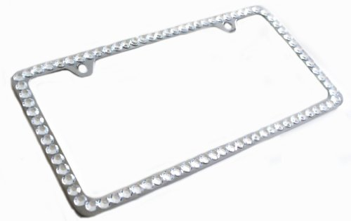 Hotblings 1 Row CLEAR Rhinestone Bling Sparkle Metal License Plate Frame & Caps Set