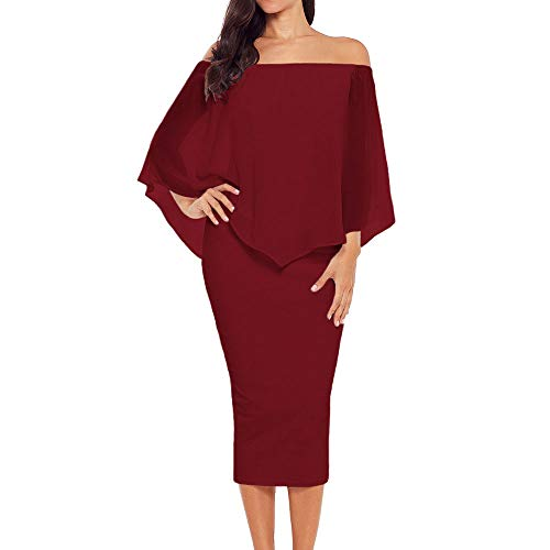 Alaster Queen Women's Off The Shoulder Bodycon Midi Dress Layered Chiffon Ruffled Party Dress for Women … (Red, Large) -