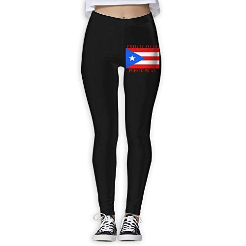 NO2XG Proud to Be Puerto Rican Puerto Rican Flag Women's Full-Length Pilates Leggings Yoga Pants by NO2XG