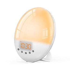 Radio Réveil Lumière avec Effets,TASMOR Lampe de Chevet Veilleuse 8 Sons Naturels 7 Couleurs,LED Simulation du Lever…