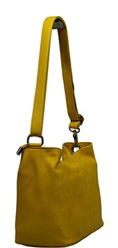Schöne praktische Leder Gelbe Umhängetasche aus Leder Batilda Gialla Scura über die Schulter