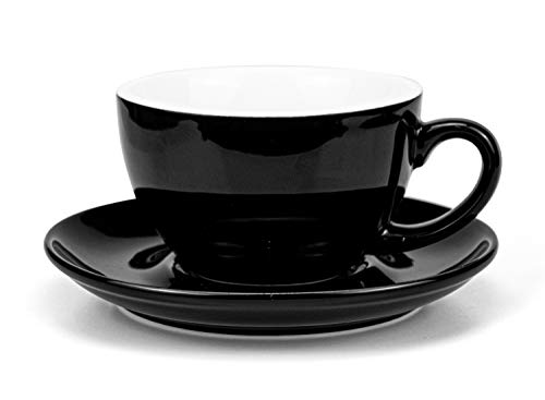 Three Color Assorted Set of 6 Hoomeet Embossed Ceramic Espresso Cups and Saucers,2.5 oz HM0006-B