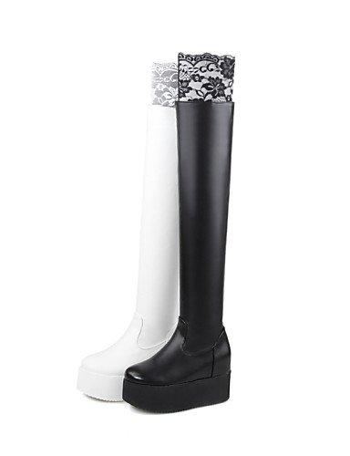 us8 Semicuero Fiesta Uk6 Eu39 Moda Noche De La Cn39 Y Vestido Zapatos Xzz Botas A Blanco Negro Plataforma Mujer White x7qWfWawzB