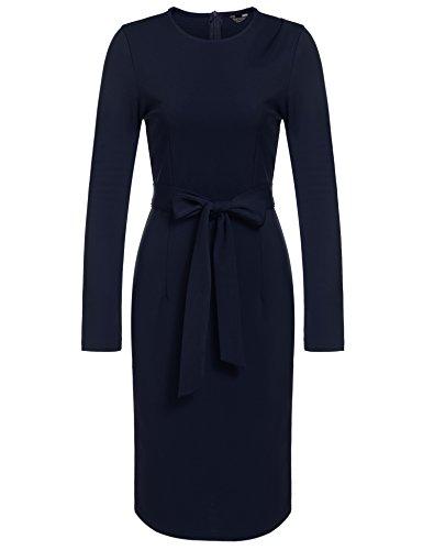 Duchess Dress - ANGVNS Women Long Sleeve Round Beck Vintage Style Cocktail Tea Dress, Navy Blue, XXL
