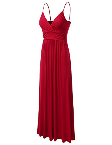Dress Womens Maxi red Ruched Sleeveless DRESSIS V Tank Neck Awdmd0223 xPBaCfBqw
