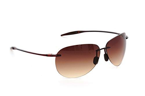 DESPADA, Made in Italy Sports Designer Fashion Driving Super Light Half Frame with UV Lenses for Men Sunglasses DS1300C3 (Brown, Dark ()