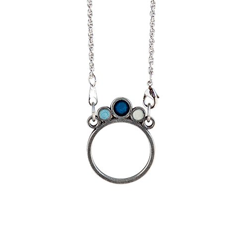 Danforth Pewter Meridian/Laguna Eyeglass Necklace Holder 24 Inch Rope Chain (Blue)