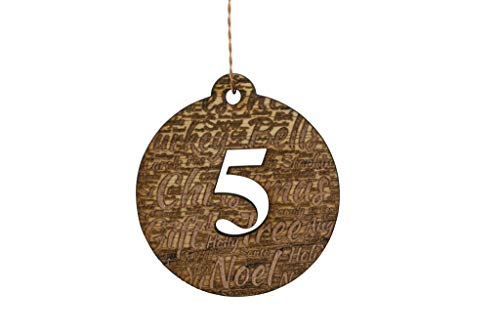- 5 Year Anniversary Christmas Word Art Collage Wood Christmas Tree Decoration
