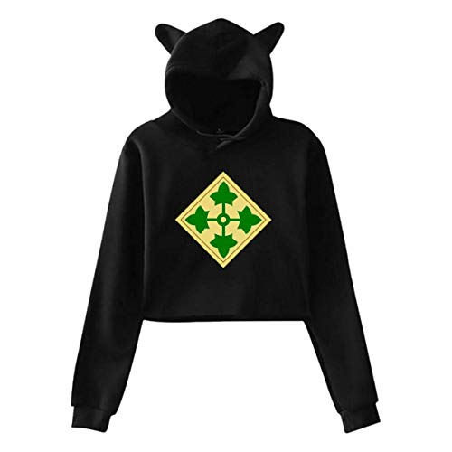 Girls Army 4th Infantry Division Cute Cat Ear Hoodie Sweatshirts,Midriff-Baring Hoody Sweater