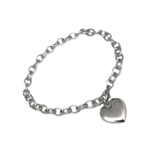 Womens Stainless Steel Heart Charm Chain Bracelet Adjustable (7.5 - 8 Inch) by Loralyn Designs (Image #1)