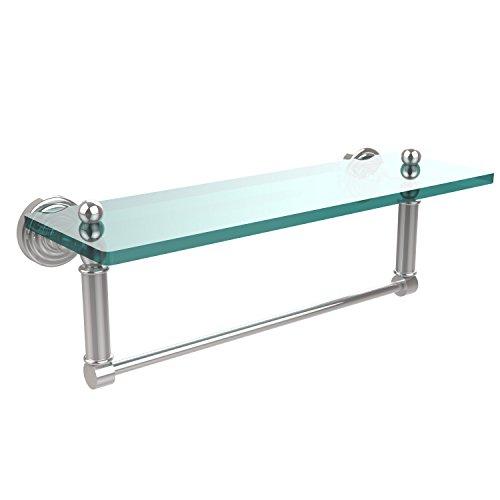 Allied Polished Shelf Brass - Allied Brass WP-1TB/16-PC Glass Shelf with Towel Bar, 16-Inch x 5-Inch
