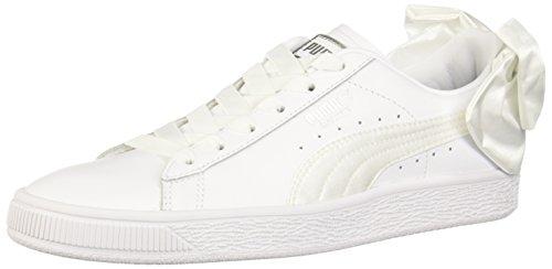 PUMA Women's Basket Bow Wn Sneaker, Puma White-puma White