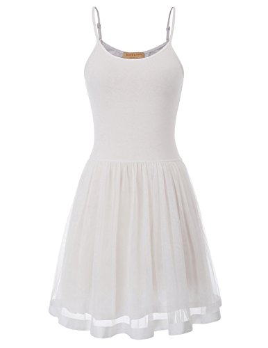 Kate Kasin Teen Girls Casual Sleeveless Strap Dress for Cocktail Party(L, White 1099)