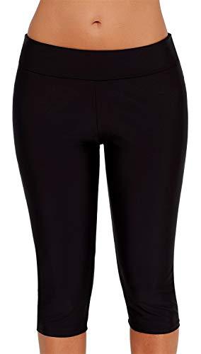 Ocean Plus Dames UV-bescherming Zwarte Knielange Zwembroek 3/4 Benen Bikinibroekjes Zwembroek Grote Maten Zwemleggings…