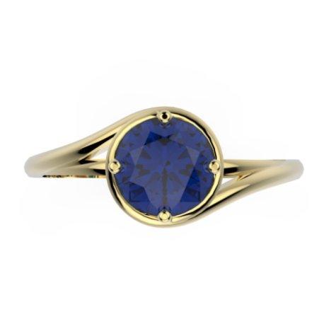 ELYA Bagues Or Jaune 18 carats Saphir Bleu 0,6 Rond