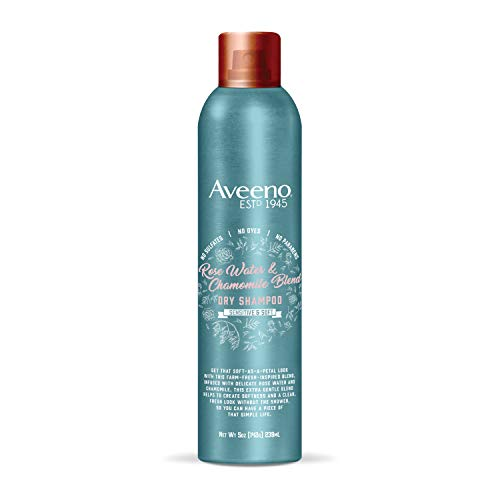 Aveeno Rose Water and Chamomile Gentle Dry Shampoo for Sensitive and Soft , Sulfate Free Dry Shampoo, No Dyes or Parabens, 5 oz