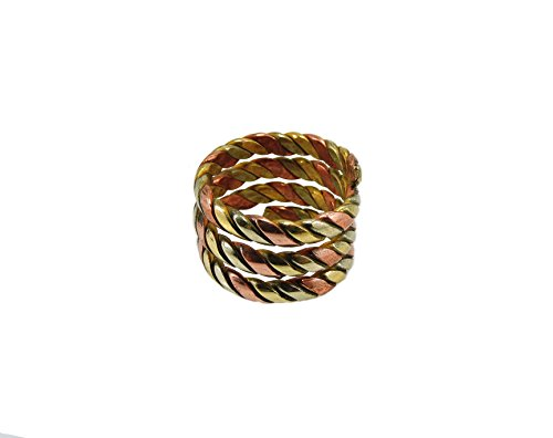 Handmade Twisted Three Metal Medicine/ Healing Spiral Ring From Nepal