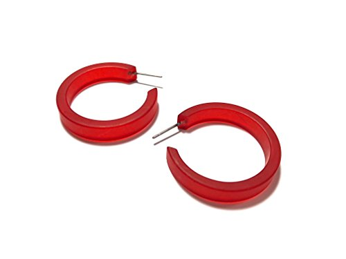 Red Resin Earrings - Light Cherry Red Hoop Earrings | Small Classic Vintage Frosted Lucite Hoops