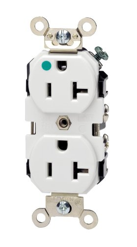 Leviton 8300-W 20-Amp, 125-Volt, Extra Heavy Duty Hospital Grade, Duplex Receptacle, Straight Blade, Self Grounding, White