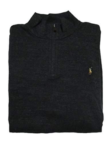 Polo Ralph Lauren Men's Big & Tall Fleece 1/2 Zip Mock Sweater-BlackthkSigPony-2XLT