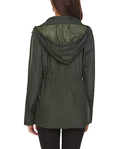 Romanstii Windproof Coat Women Trench Jacket Hooded Windbreaker for Travel Hiking Outdoor,Army Green Waterproof Rain Jacket,Large