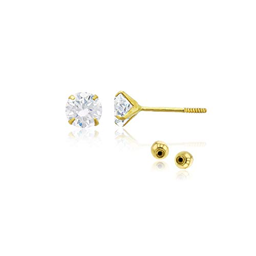 (Decadence Women's 14k Yellow Gold 4mm Round Solitaire Ball Screw Back Stud Earrings)