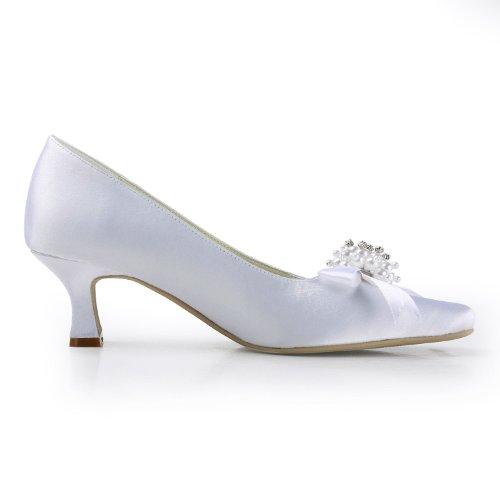 ElegantPark Bows Pumps Toe Shoes Heel Women Satin Square Wedding Wide Mid White Pearls r8rFna