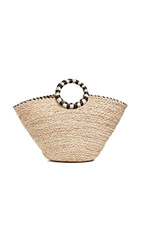 Contrast Straw Tote - Hat Attack Women's Out East Bag, Natural/Black, One Size
