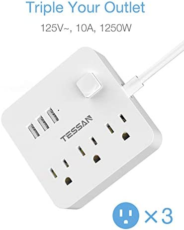 Power Strip 3 USB 3 Outlet, Desktop Charging Station 5 ft Flat Plug Extension Cord for Cruise Ship Accessories Dorm Room Plug Extender – White 31NrOIwd0xL