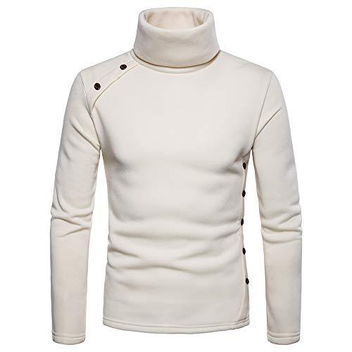 (Usstore   Men's Casual Solid Autumn Winter Long Sleeve Button Turtleneck Choker Outwear Tops Polyester Sweater Blouse (❤Beige, L))