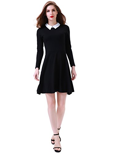 Aphratti Women's Long Sleeve Casual Shirt Peter Pan Collar Flare Dress XX-Large Black -