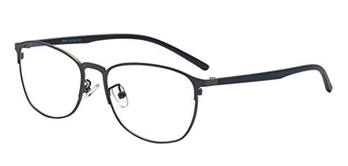 ALWAYSUV Wayfarer Designer Metal Eyeglasses Frames with Clear Lens For Men - Frames Gray Glasses