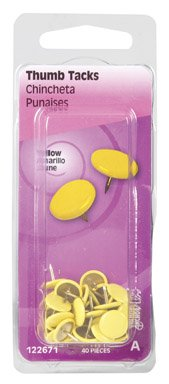 Hillman Thumb Tacks 5/16'' Steel Yellow Polybox by Hillman Group Rsc (Image #1)