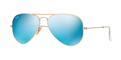 Price comparison product image Ray-Ban Original RB3025 112/17 Aviator Non-Polarized Sunglasses, Matte Gold Frame/ Blue Mirror Lens, (Small 55mm)