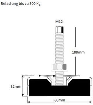 colore: Giallo 4 pezzi Piedino dappoggio M16 x 100 ASL