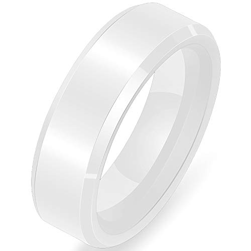(Jude Jewelers Brushed 6mm Ceramic Classical Simple Plain Wedding Band Ring (White 6mm, 7))