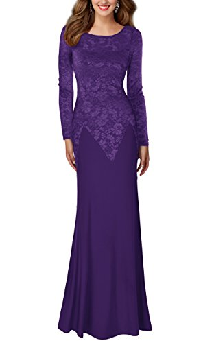 REPHYLLIS Women's Retro Floral Lace Wedding Maxi Bridesmaid Long Dress (Medium, Purple)