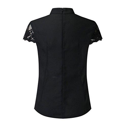 Dentelle Femmes Soie Blouse Courtes Splice Top Noir Manches Casual de Mousseline Crop Chic TiaQ Blouse en wcPnqxE0W5