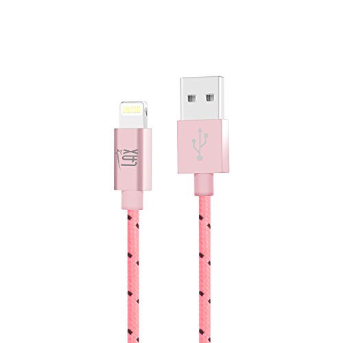 LAX Gadgets Extra Long Apple MFi Certified Nylon Lightning Cable Cord | 6 Ft - Pink