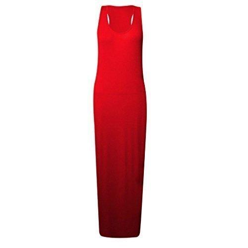 Dbardeur robe jersey dos t 26 fashionchic col taille 8 rond Rouge grande uni sans manche nageur longue femme vfvx7Rqwt