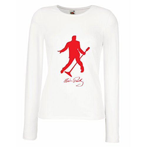 lepni.me Women's T-Shirt I Love You Elvis - King of Rock and Roll 50s, 60s, 70s Fan Outfits (Medium White Red) for $<!--$12.27-->